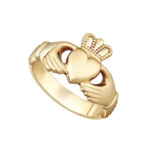 Yellow Gold Ladies Heavy Claddagh Ring