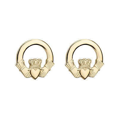 14ct Yellow Gold Claddagh Stud Earrings