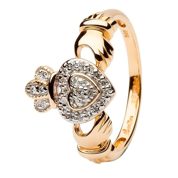 14ct Yellow Gold Diamond Claddagh Ring