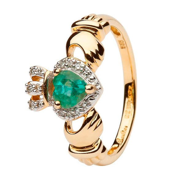 Ladies 14ct Gold Claddagh Ring Set with Emerald and Diamond