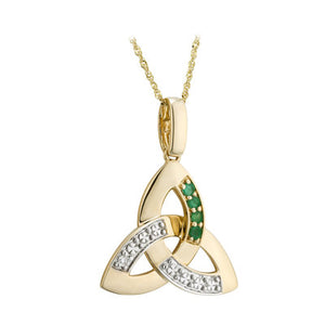 14ct Yellow Gold Diamond and Emerald Trintiy Knot Pendant