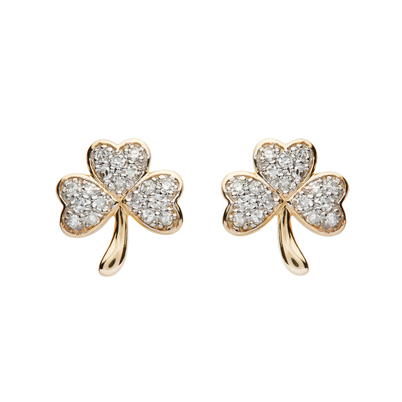 14ct Yellow Gold Diamond Shamrock Stud Earrings