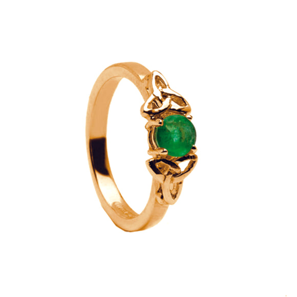 14ct Yellow Gold Celtic Emerald Engagement Ring