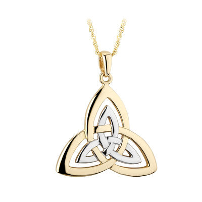 14ct Yellow And White Gold Celtic Trinity Knot Pendant