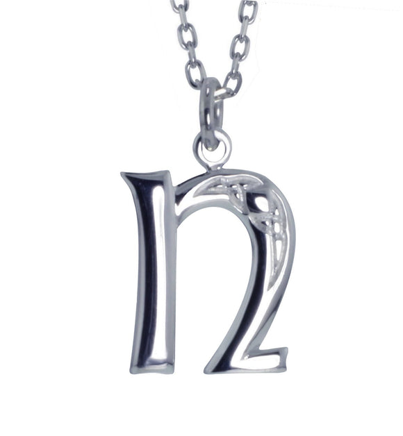 Sterling Silver Initial N Book Of Kells Inspired Pendant