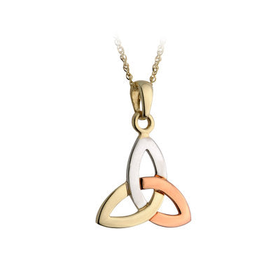 14ct 3 Colour Trinity Knot Pendant in White, Yellow and Rose Gold
