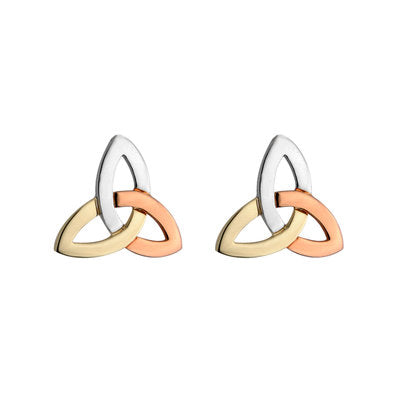 14ct 3 Colour Trinity Knot Stud Earrings in White, Yellow and Rose Gold