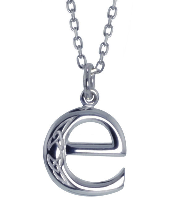 Sterling Silver Initial E Book Of Kells Inspired Pendant
