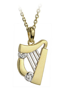 9ct Yellow and White Gold Celtic Harp Pendant
