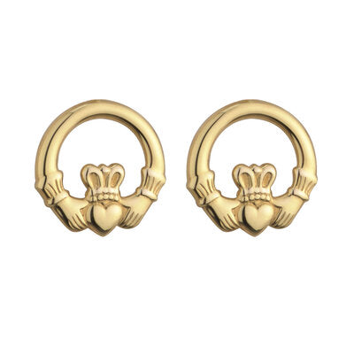 9ct Yellow Gold Claddagh Stud Earrings