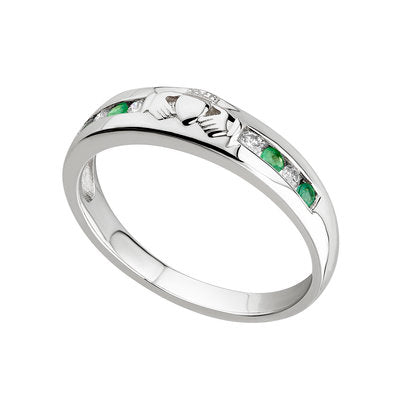 14ct White Gold Diamond & Emerald Claddagh Eternity Ring