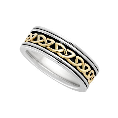 Men's Sterling Silver & 10ct Gold Oxidised Celtic Knot Ring