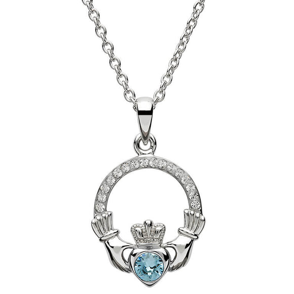 Sterling Silver Claddagh March Birthstone Pendant with Swarovski Crystals