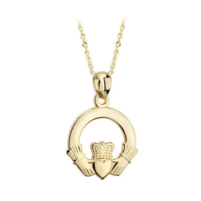 14ct Yellow Gold Claddagh Pendant