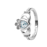 14ct White Gold Aquamarine March Birthstone Claddagh Ring