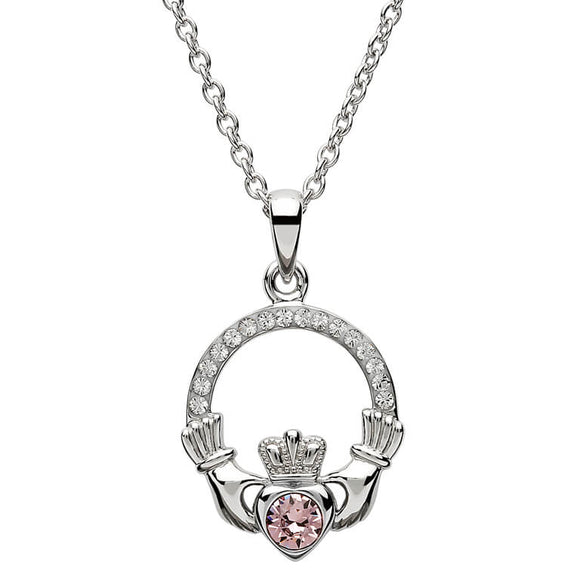 Sterling Silver Claddagh June Birthstone Pendant with Swarovski Crystals