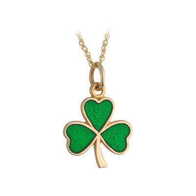 9ct Yellow Gold Enamel Shamrock Pendant