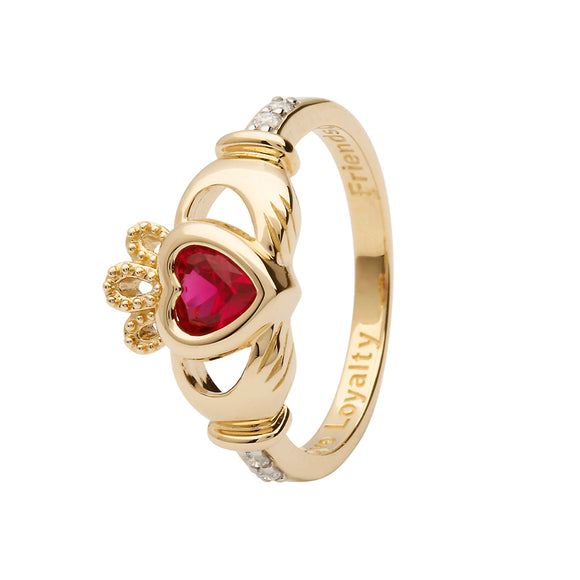 14ctYellow Gold Ruby July Birthstone Claddagh Ring