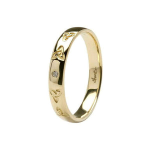 Men's 14ct Gold Diamond Celtic Trinity Knot Wedding Ring