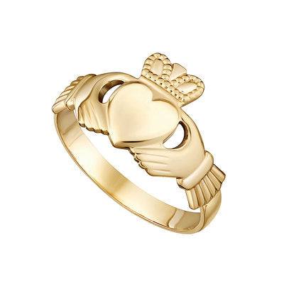 Ladies 10ct Yellow Gold Claddagh Ring