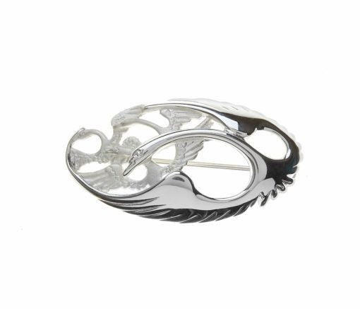 Sterling Silver Oval Children Of Lir Brooch featuring four interlinked Swans