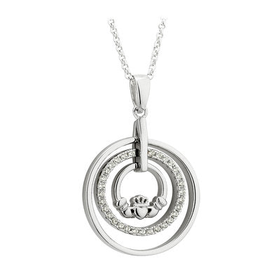 Sterling Silver Cubic Zirconia Circle Claddagh Pendant