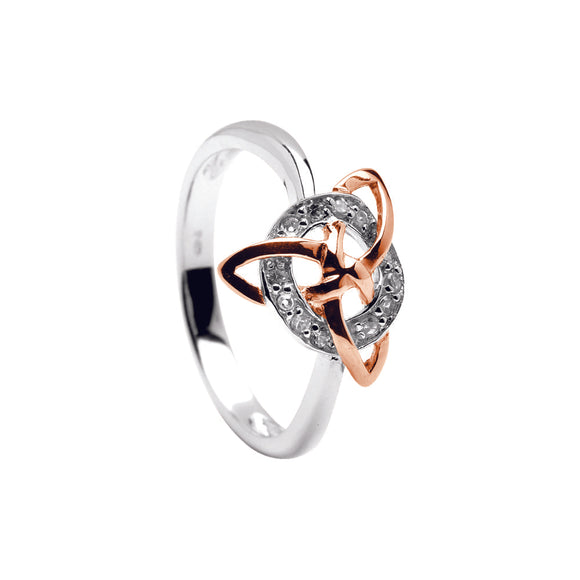 Rose gold plated Trinity knot silver ring with cubic zironia