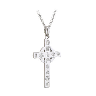 Inspired by Ireland's Celtic high crosses, this history of Ireland cross pendant is handcrafted in sterling silver. This beautiful cross is engraved with 12 symbols that represent Ireland's history. It begins with the Neolithic age right through to the partition of Ireland in 1920. Each piece in the collection is supplied with a booklet detailing all 12 symbols.