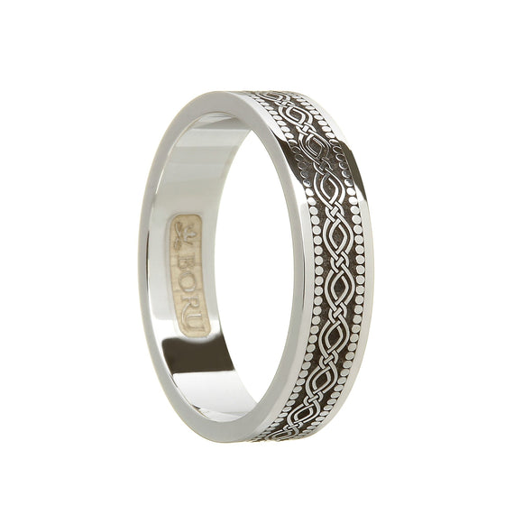 Sterling Silver Celtic Pattern Wedding Ring