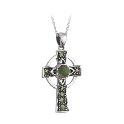 Sterling Silver Connemara Marble Marcasite Celtic Cross