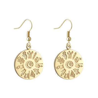14ct Yellow Gold History Of Ireland Drop Earrings