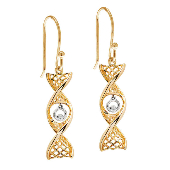 14ct Gold Celtic DNA Claddagh Drop Earrings