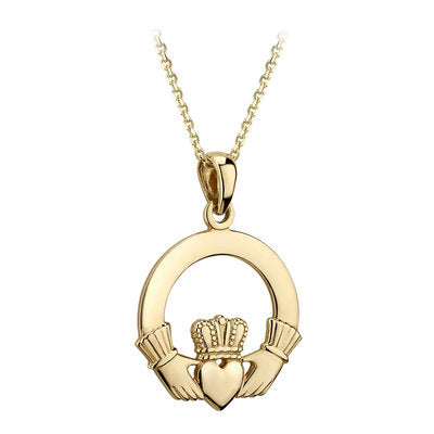 14ct Yellow Gold Heavy Claddagh Pendant