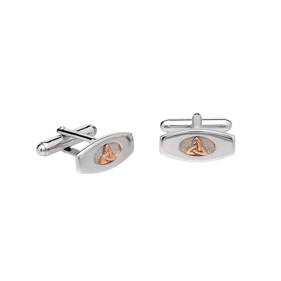 Sterling Silver and Rose Gold Trinity Knot Cufflinks