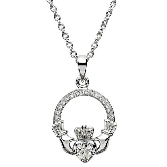 Sterling Silver Claddagh April Birthstone Pendant with Swarovski Crystals