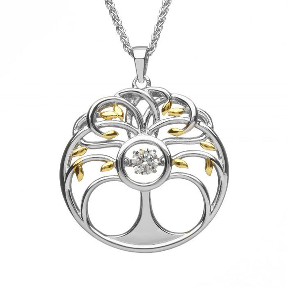 Sterling Silver Tree Of Life Dancing Stone Pendant