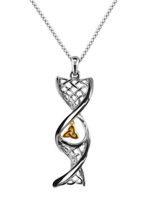 Sterling Silver Celtic DNA Trinity Knot Pendant