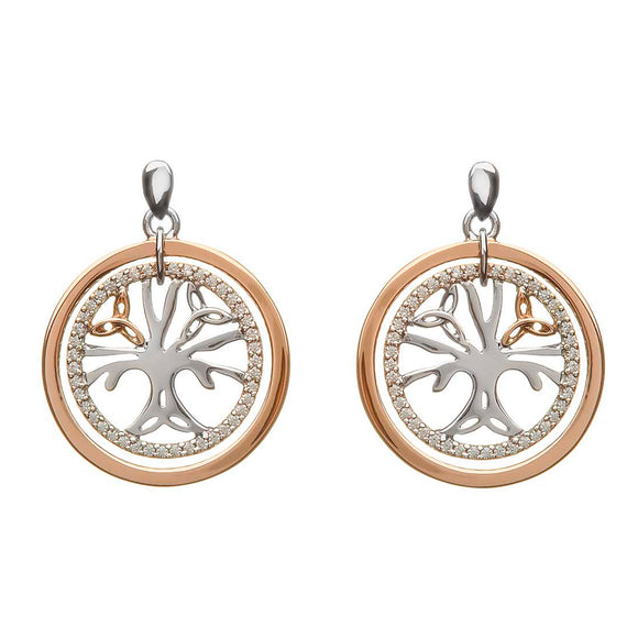 Sterling Silver and Rose Gold Celtic Tree of Life Cubic Zirconia Earrings