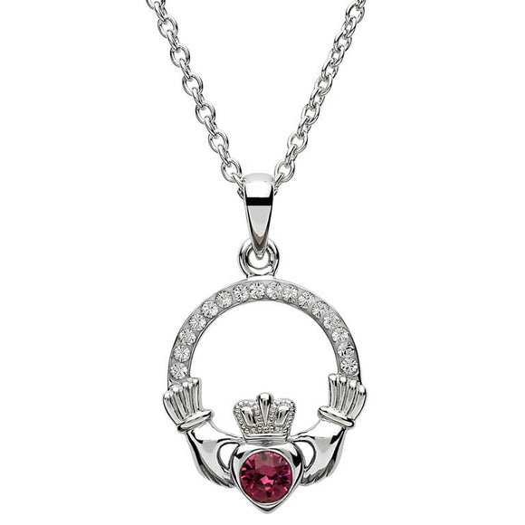 Sterling Silver Claddagh February Birthstone Pendant with Swarovski Crystals
