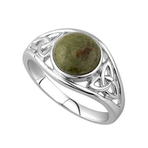 Sterling Silver Connemara Marble Celtic Knot Ring