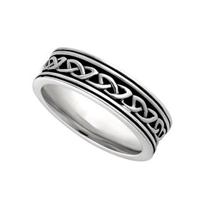 Ladies Sterling Silver Oxidised Celtic Knot Ring