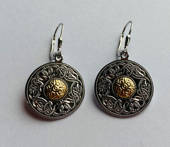 Sterling Silver Celtic Warrior Drop Earrings with 18ct Gold Beads