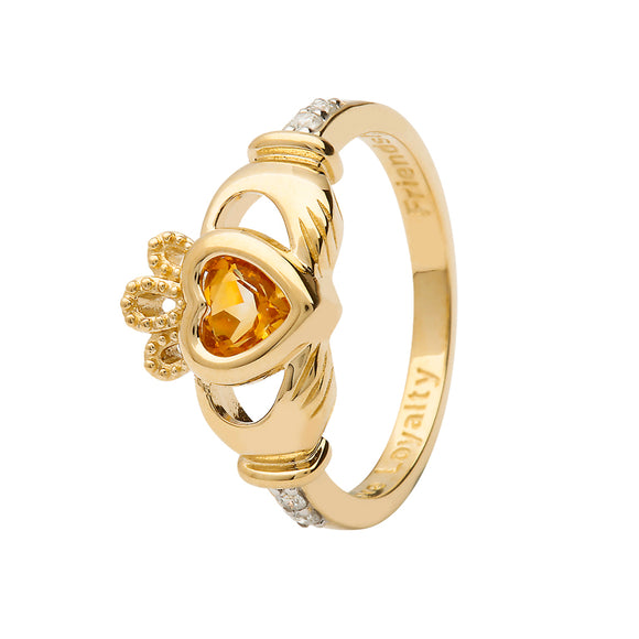 14ct Yellow Gold Citrine November Birthstone Claddagh Ring