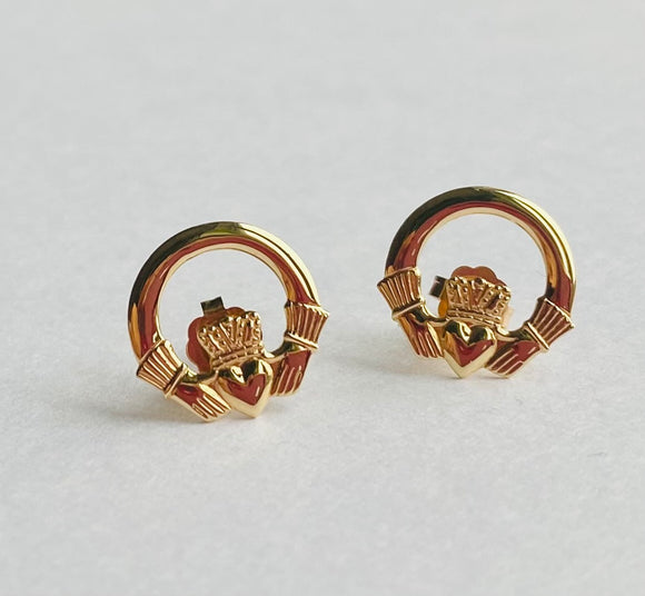 10ct Yellow Gold Claddagh Stud Earrings