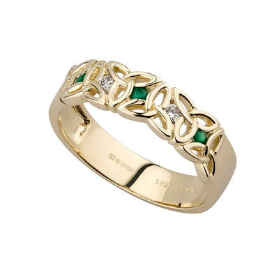 14ct Yellow Gold Emerald and Diamond Trinity Knot Ring