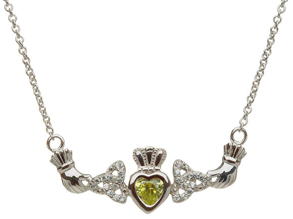 Sterling Silver 1 Stone Trinity Knot Mothers Necklace