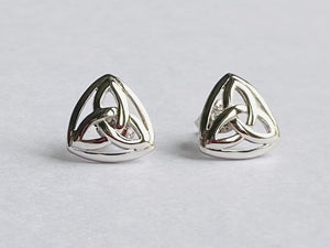 Sterling Silver Triangle Trinity Knot Stud Earrings