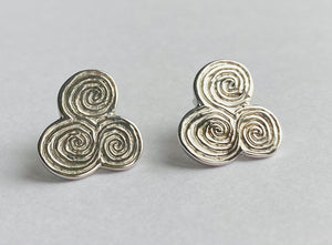Sterling Silver Newgrange Spirals Stud Earrings
