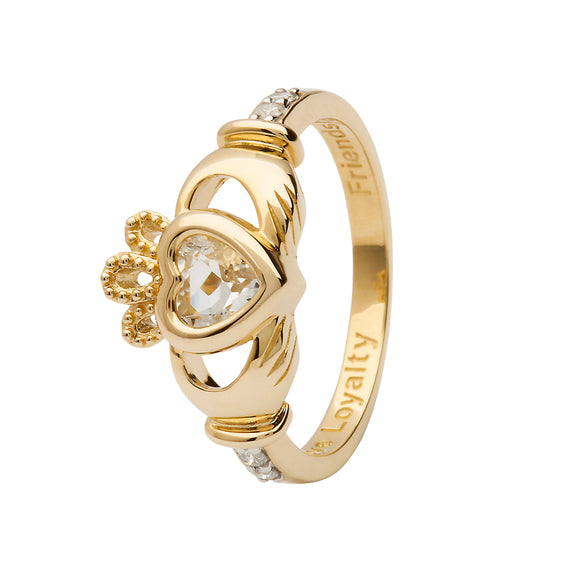 14ct Yellow  Gold White Topaz April Birthstone Claddagh Ring