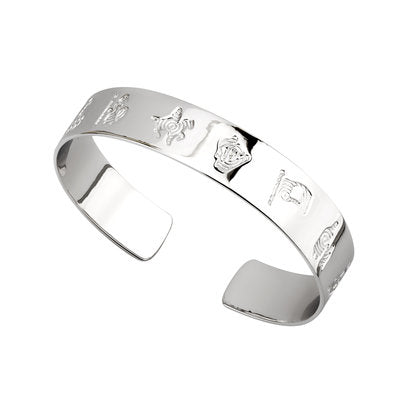 Sterling Silver History Of Ireland Flat Bangle